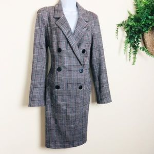 Donna Morgan Plaid Double Breasted Coat Dress